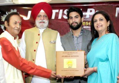 Parduman Suri was awarded the 'Youth Icon Star 2021 – Jyotish Urja' award by Jyotish Prangan in Chandigarh